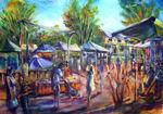 Didge Darren and the Eumundi markets Artist Bob Gammage size 0850mm x 1150mm approx price AUS $SOLD