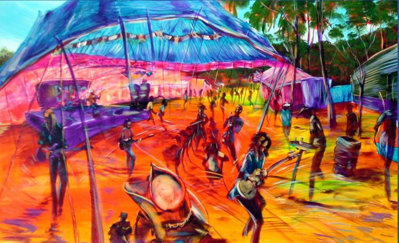 GYMPIE MUSTER SOLD - Prints available at -  artist -BOB GAMMAGE-