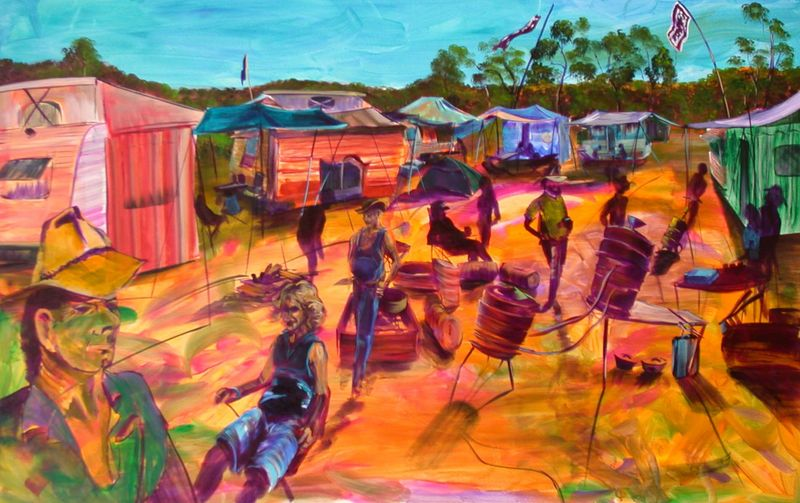 GYMPIE MUSTER SOLD- prints available - artist -BOB GAMMAGE-