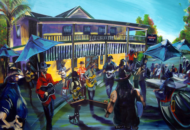 mORNINGS WITH mIC jAMES  the Locomotive Hotel Artist Bob Gammage - PRINTS AVAILABLE